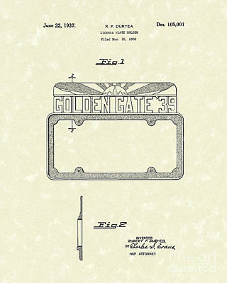 Duryea License Holder 1937 Patent Art Poster by Prior Art Design