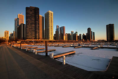 Dusable Harbor In Chicago At Sunrise Poster