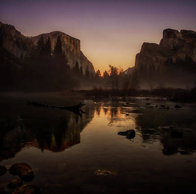 Dusk At Valley View Yosemite National Park Poster