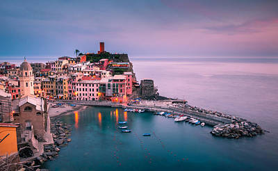 Dusk At Vernazza Poster by Josh Eral