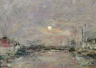Dusk On The Commercial Dock At Le Havre Poster by Eugene Louis Boudin