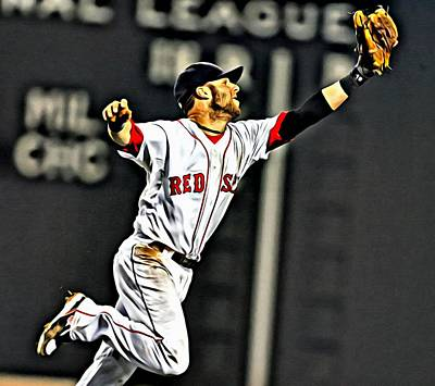 Dustin Pedroia Painting Poster by Florian Rodarte