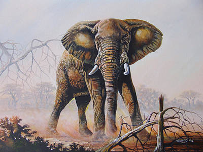Poster featuring the painting Dusty Jumbo by Anthony Mwangi
