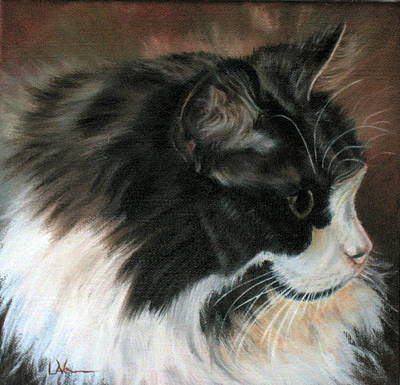 Poster featuring the painting Dusty Our Handsome Norwegian Forest Kitty by LaVonne Hand