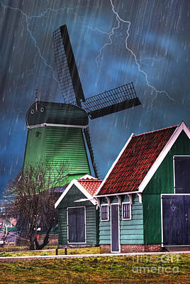 Dutch Windmill Poster by Juli Scalzi