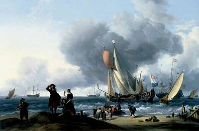Dutchmen Embarking Onto A Yacht, C.1670 Oil On Canvas Poster