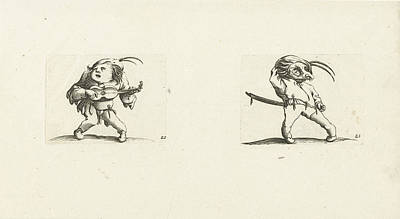 Dwarf With Guitar Dwarf With Sword And Mask Poster by Jacques Callot And Abraham Bosse