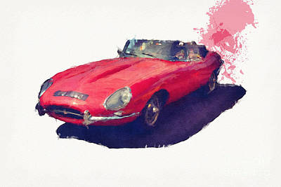 E Type Poster by Roger Lighterness