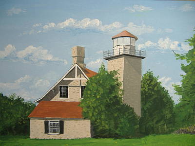 Poster featuring the painting Eagle Bluff Lighthouse Wisconsin by Norm Starks