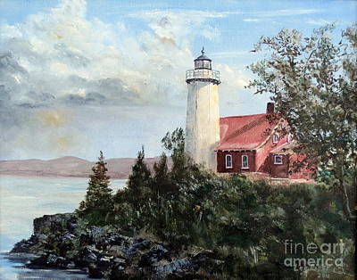 Poster featuring the painting Eagle Harbor Light by Lee Piper