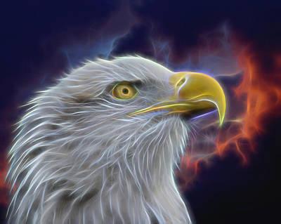 Eagle Head In Clouds Digital Art Poster