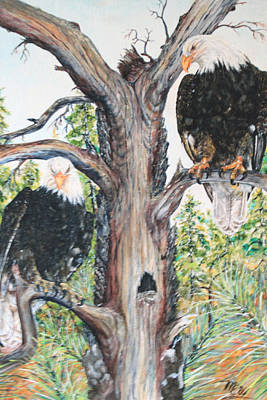 Eagles On A Tree Poster by Martin Way