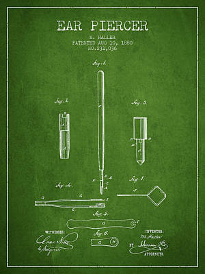 Ear Piercer Patent From 1880 - Green Poster