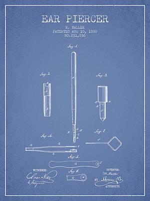 Ear Piercer Patent From 1880 - Light Blue Poster