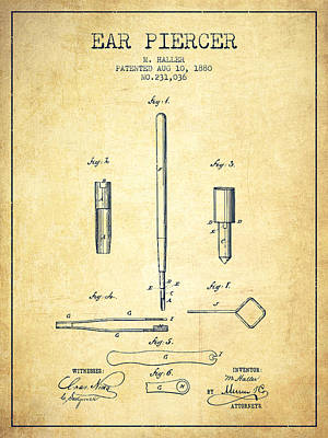 Ear Piercer Patent From 1880 - Vintage Poster