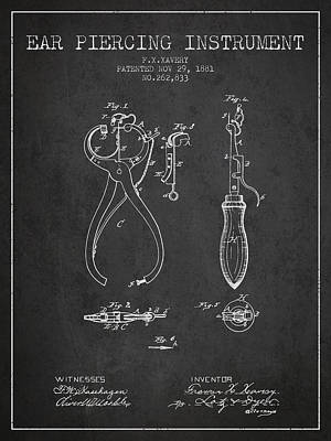 Ear Piercing Instrument Patent From 1881 - Charcoal Poster