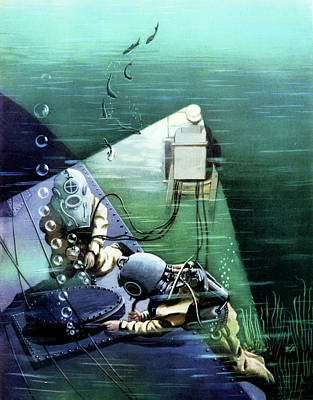 Early 20th Century Marine Divers Poster