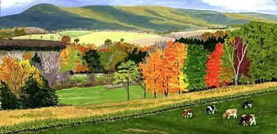 Early Autumn At Bear Meadows Farm Poster