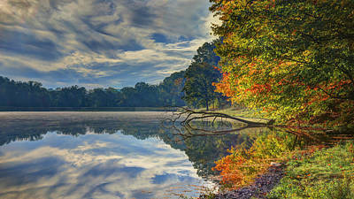 Poster featuring the photograph Early Autumn At Caldwell Lake by Jaki Miller