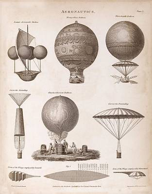 Early Balloon Designs Poster by Middle Temple Library