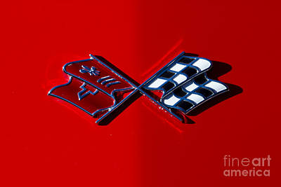 Early C3 Corvette Emblem Red Poster by Dennis Hedberg