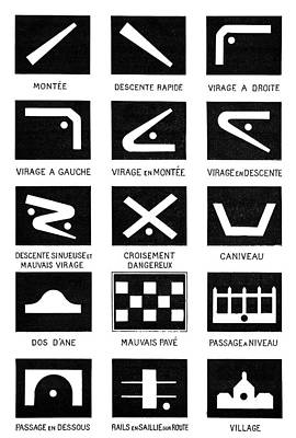 Early Car Road Signs Poster