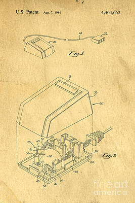 Early Computer Mouse Patent Yellowed Paper Poster by Edward Fielding