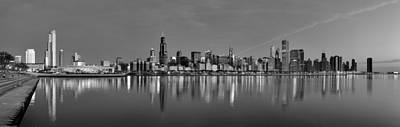 Early Morning Chicago In Monochrome Poster