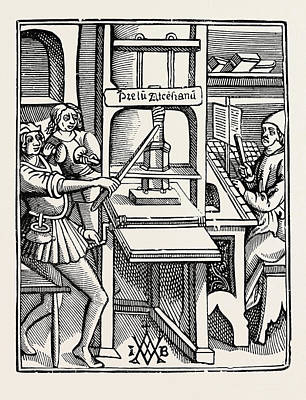 Early Printing Press Poster by English School