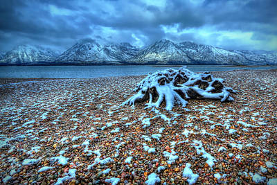 Early Snow On The Tetons Poster