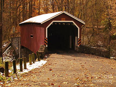 Poster featuring the photograph Early Snowfall On Wooden Covered Bridge by Bob Sample