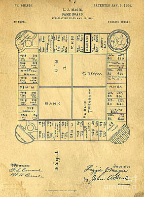 Early Version Of Monopoly Board Game Patent Poster by Edward Fielding