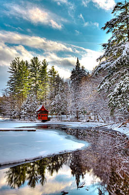 Early Winter At The Red Boathouse Poster by David Patterson