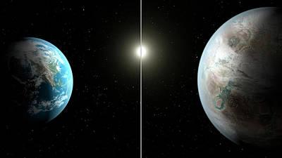 Earth And Kepler-452b Poster