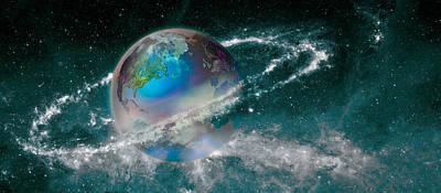 Earth In Star Field Poster