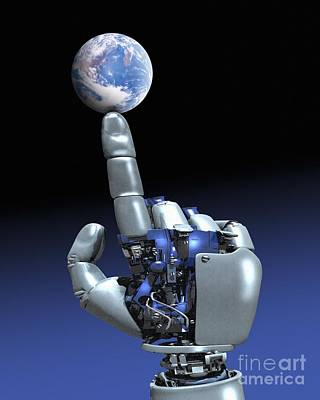 Earth Spinning On Robotic Finger  Poster by Victor Habbick Visions SPL