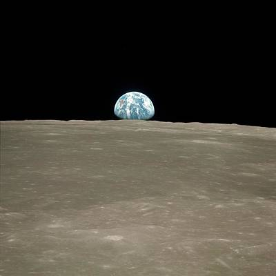 Earthrise Over Moon Poster by Nasa