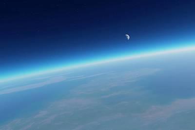 Earth's Atmosphere And Moon Poster by Detlev Van Ravenswaay