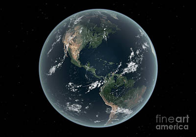 Earths Western Hemisphere With Rise Poster