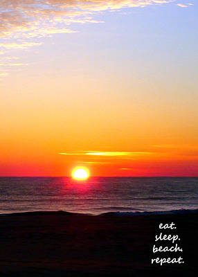 East. Sleep. Beach Sunrise Poster