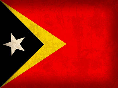 East Timor Flag Vintage Distressed Finish Poster by Design Turnpike