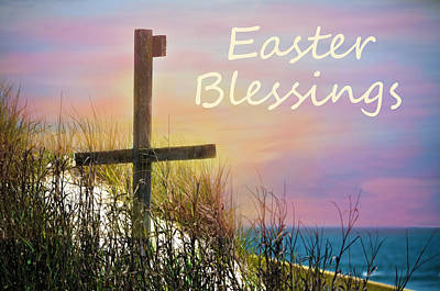 Easter Blessings Cross Poster