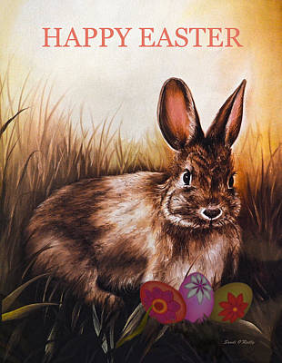Easter Bunny And Eggs Poster by Sandi OReilly