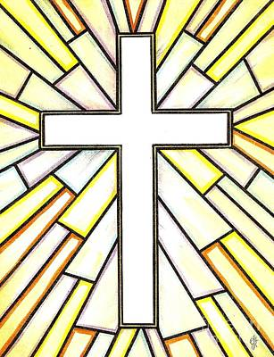Poster featuring the painting Easter Cross 3 by Jim Harris