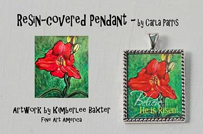 Easter Daylily Resin Covered Pendant Poster by Carla Parris