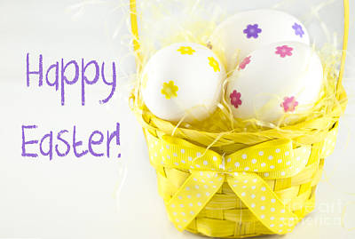 Easter Eggs In Basket Poster by Juli Scalzi