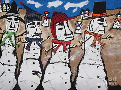 Easter Island Snow Men Poster by Jeffrey Koss