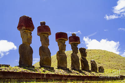 Easter Island Statues  Poster by David Smith