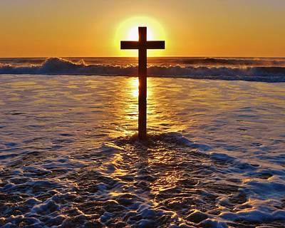 Easter Sunrise Cross Outer Banks 1 Poster by Mark Lemmon