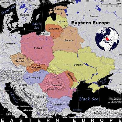 Eastern Europe Exotic Map Poster by Florene Welebny